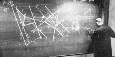 Technische Universität, Karlsplatz, Wien 4: Professor an Tafel, um 1940